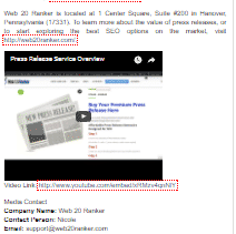 video embed in a press release