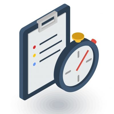 Clipboard and stopwatch. Time management, control, planning isometric flat icon. 3d vector