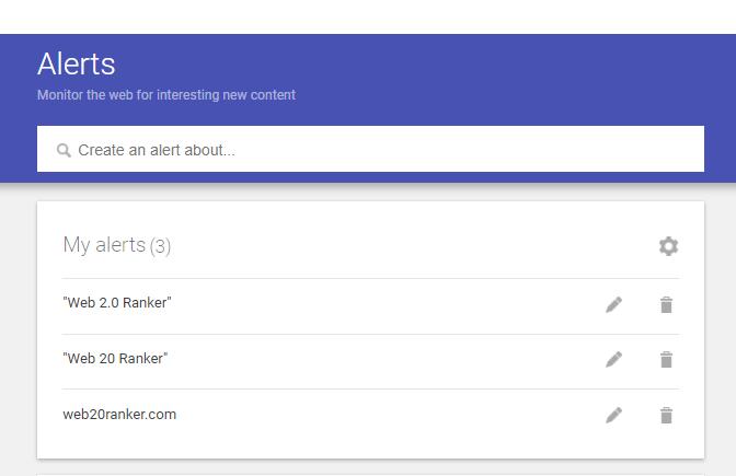 google alerts dashboard